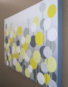 Yellow and Grey Textured Flower Art -- Layers of textured circle flowers make this piece a great addition to any yellow and grey nursery,