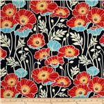 Joel Dewberry Notting Hill Sateen Pristine Poppy Midnight