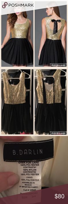 Short Black and Gold Sequined Bee Darlin Dress The sparkling gold sequined  bodice on this dazzling 63d99bdad