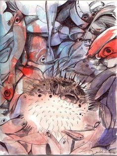 Aquarell und Kugelschreiber Zeichnung