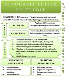 Revocable Letter of Credit - Meaning,Stages, Types - Secured & Unsecured, Reasons, Rarity Learn Accounting, Accounting And Finance, Accounting Education, Accounting Principles, Business Education, Business Marketing, Money Management, Business Management, Project Management