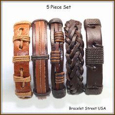 5 Piece handmade Leather Bracelet Set Leather and Hemp Braclet Friendship USA Seller Item # BST-182 by BraceletStreetUSA on Etsy