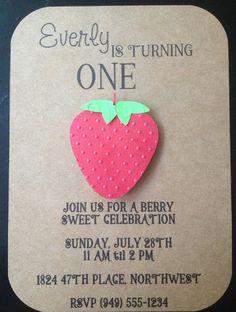 Strawberry Handmade Invitations Custom Made for Kid's Birthday Party or Baby Shower on Kraft Paper #strawberryparty #strawberryshower