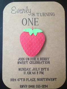 Strawberry Handmade Invitations Custom Made for Kid's Birthday Party or Baby Shower on Kraft Paper #strawberryparty #strawberryshower