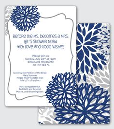 Blue Flowers Bridal Shower Invitation  by silentlyscreaming