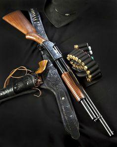 Winchester Model 1897 12 gauge shotgun and Colt revolver (Photo Credit: D Richardson) Weapons Guns, Guns And Ammo, Airsoft Guns, Pump Action Shotgun, Cowboy Action Shooting, Jurassic, Survival, The Lone Ranger, Fire Powers