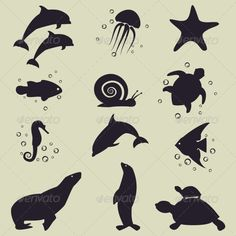 Buy Sea Animals Icons by OlgaSha on GraphicRiver. Vector set of sea animals icons. Animal Silhouette, Silhouette Art, Painting For Kids, Art Plastique, Saul Bass, Sea Creatures, Under The Sea, Painted Rocks, Art Projects