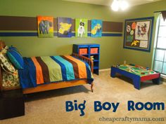 Toddler room. Love the colors. For the new baby I want green/brown jungle theme. Since Micah and he/she will be sharing a room later on, I wanted to make sure Micah's current dressers etc matched. They are the same colors as in this picture. What a cool find :)