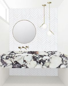 front bath design for mandy moore residence // sarah sherman samuel Ideal Bathrooms, Guest Bathrooms, Downstairs Bathroom, Small Bathroom, Bathroom Ideas, Minimal Bathroom, Bathroom Sinks, White Bathroom, Bathroom Wall