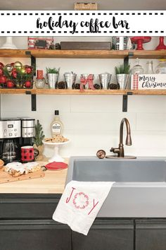 Create a simple and stunning coffee bar for all of your holiday guests this season. #Sponsored #SipAndBeSocial #CoffeeBar #KitchenMakeover
