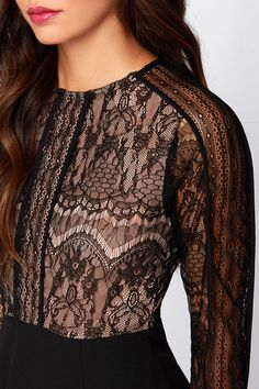 Tonight's the Night Black Long Sleeve Lace Dress at Lulus.com!