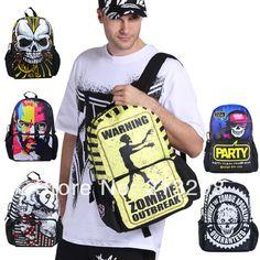 New 2014  zombies top selling school bag backpack large zipper fancy yellow and black all over printing backpack, retail BBP117 $47.56
