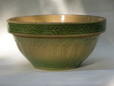 Antique Yellow Ware Bowl Green and Yellow by RedoneAndVintage, $55.00