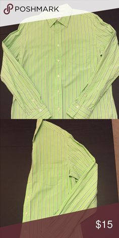 Men's green striped work shirt from Aeropostale Men's green work shirt from Aeropostale. Small blue and white vertical white stripes and pocket on the chest. Aeropostale Shirts Dress Shirts