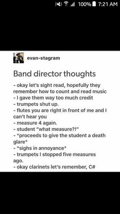 My poor Band teacher is always having to correct the alto saxes, trumpets, flute… – Band Memes. Band Nerd, Band Puns, Music Jokes, Music Humor, Funny Music, Marching Band Jokes, Marching Band Problems, Funny Band Memes, Band Director