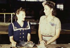 2 women whose husbands were killed in the Pearl Harbor attack work in a factory in TX.  The sacrifice and dedication of Americans on the WW2 homefront is awesome and humbling. The U.S. Home Front During World War II Photos — History.com Picture Galleries #women #homefront #WWII