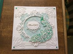 Thank you card using Sue Wilson dies and Tattered Lace peacock