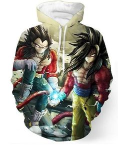 Dragon Ball Z  Super Sayain 4 Goku and Vegeta Hoodie. 100% Cotton and Polyester blend, custom made sublimation printed technique and hand sewn hoodies, t-shirts, and long sleeves clothing.   For our 3D clothing, unless there is a picture on the back for our product images, all of our 3D clothing are printed front and back with the same image.                 FREE Shipping  NOT SOLD IN STORES          Gender: Unisex  Material: Cotton, Polyester Spandex Blend Machine Washable and Dryer Safe…