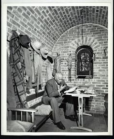 Carl Jung reading in the Tower at Bollingen, ca. 1960.