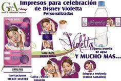 Combo de impresos para cumpleaños de Disney Violetta
