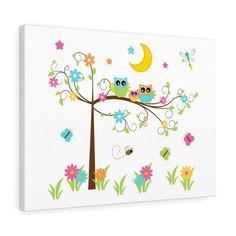 OWL TREE ART Canvas Wall Print Baby Girl Moon Stars Nursery Kids Room Decor Owl Nursery Decor, Star Nursery, Elephant Nursery, Nursery Wall Art, Girl Nursery, Moon Nursery, Owl Tree, Tree Art, Wall Canvas