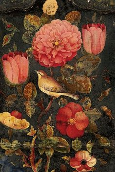 Flowers with a finch. From Persia (19th century)