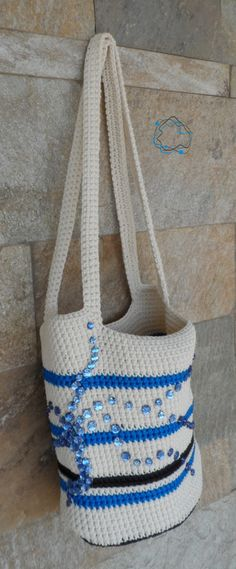 Knitted Handbags : Blue, Black & Ecru Knitted Handbag with Beads