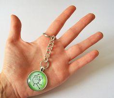 Crazy sheep round keychain with glass by FunkyFancyAnimals on Etsy, €7.00