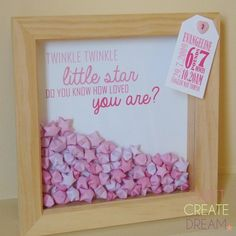 New Baby Lucky Wishing Star Box Frame - Pink Twinkle Twinkle Little Star Christening, new baby gift