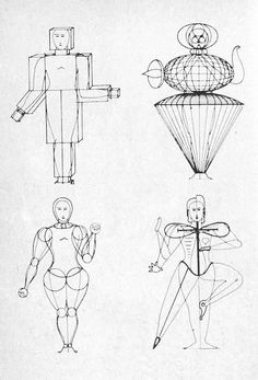 Amazing work by Oskar Schlemmer.  He was German artist working with Bauhaus. One of the main aspects of his work included representing human bodies and it's movement as architectural forms, playing with the convex and concave surfaces.