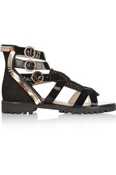 Sophia Webster|Marnee embellished suede and patent-leather sandals|NET-A-PORTER.COM