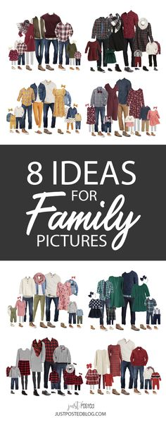 8 different options for what to wear for family pictures from babies and toddlers to adults! Some of these will be great for Holiday Family looks and Christmas card pictures too. Each look has links included and 8 completely different color schemes for Family Photos! Hopefully this will take the stress out of planning what to wear for your family pictures!