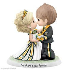 One-of-a-kind NFL-licensed Precious Moments figurine celebrates Packers and your wedding day. Handcrafted in bisque porcelain. Steelers Gear, Steelers Football, Steelers Stuff, Football Players, Packers Wedding, Cold Porcelain Jewelry, Fine Porcelain, Pittsburgh Steelers Wallpaper, Pittsburgh Sports