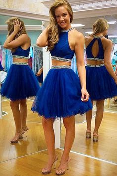 Pretty Halter Neck Homecoming Dresses,Two Piece Homecoming Dresses,Short Tulle Homecoming Dresses,Crystals Beaded Party Dresses