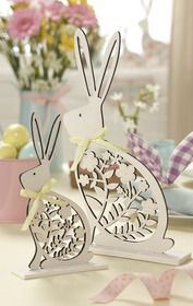 Gisela Graham Set of Two Wooden Easter Bunny Ornaments - £15.00 from The Contemporary Home