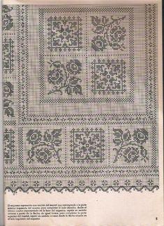 Schemi per il filet: Tovaglia da lavorare a filet_2 Crochet Curtain Pattern, Crochet Curtains, Curtain Patterns, Crochet Tablecloth, Crochet Doilies, Crochet Designs, Crochet Patterns, Filet Crochet, Damask