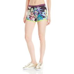 Juicy Couture Black Label Women's Rainforest Floral Compression Short ($98) ❤ liked on Polyvore featuring activewear, activewear shorts, juicy couture sportswear, logo sportswear and juicy couture