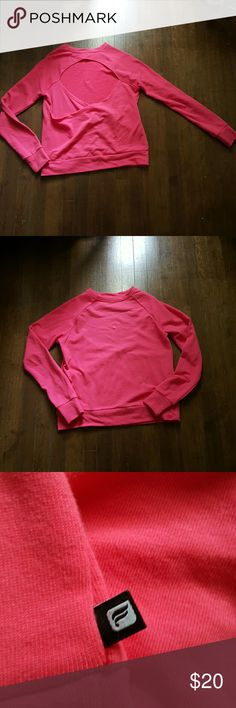 Hot Pink/Coral Fabletics Sweatshirt This is a mega cute open back sweatshirt with fun thumb holes!!! Great for working out or...not. <3  ***Small stain by right thumb hole (as seen in last pic) Fabletics Sweaters Crew & Scoop Necks