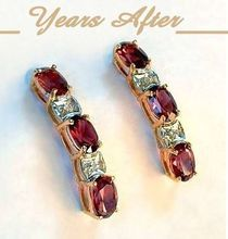 Estate Genuine 14K Gold RHODOLITE Diamond Earrings Hallmarked - MINT c.1970's!