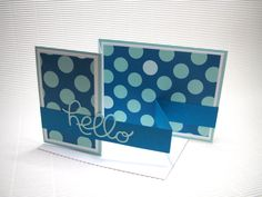 Helloy card handmade stamped fancy-fold double z card fun blue polka dot paper greeting  party supplies by QuirkynBerkeleyCards on Etsy