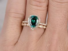 2pc Emerald Ring Bridal SetEngagement ring Yellow