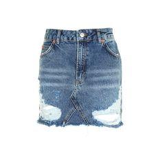 TopShop Moto Rip Denim Mini Skirt ($60) ❤ liked on Polyvore featuring skirts, mini skirts, mid stone, short blue skirt, denim miniskirt, ripped skirt, denim skirt and ripped denim skirt