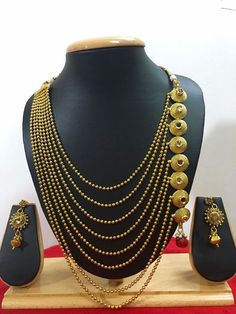 Indian Ethnic Traditional Gold Tone Bollywood Fashion Jewelry Long Necklace Set #CrownJewel
