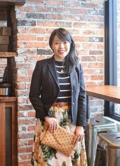 Black blazer, sailor stripe sweater, floral skirt, polka dot clutch, cognac leather belt