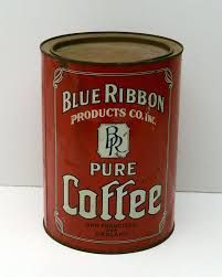 Vintage Coffee Tin Blue Ribbon Rare very old Coffee Canister, Coffee Tin, Coffee Bars, Drink Coffee, Vintage Tins, Vintage Coffee, Vintage Stores, Coffee Is Life, I Love Coffee