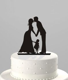 Wedding Cake Topper Silhouette Groom and Bride with little Boy - Family Acrylic Cake Topper: Using this as our cake topper! It is so beautiful and sweet! Wedding Nails For Bride, Our Wedding, Dream Wedding, Cake Wedding, Beautiful Wedding Cakes, Perfect Wedding, Bride And Son, Personalized Wedding Cake Toppers, Personalized Napkins