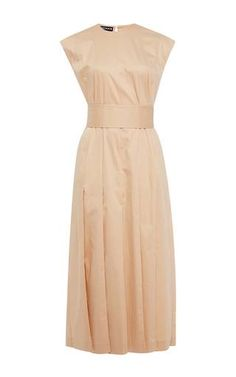 Pale pink belted midi dress with pleats by ROCHAS Available Now on Moda Operandi