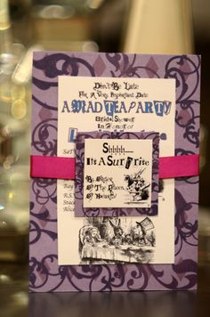 Tea party invitation Alice in wonderland inspired by PinkAppleInk, $80.00