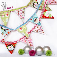 Christmas bunting red pink blue green