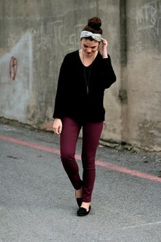 Maroon pants with over-sized sweater is the ultimate fall look
